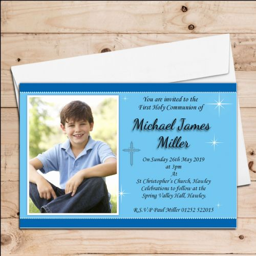 10 Personalised Boys 1st First Holy Communion PHOTO Invitations N21